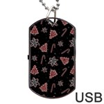 Ginger cookies Christmas pattern Dog Tag USB Flash (Two Sides) Front