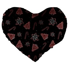 Ginger Cookies Christmas Pattern Large 19  Premium Flano Heart Shape Cushions