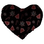 Ginger cookies Christmas pattern Large 19  Premium Flano Heart Shape Cushions Front