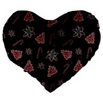 Ginger cookies Christmas pattern Large 19  Premium Flano Heart Shape Cushions Back