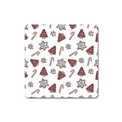 Ginger Cookies Christmas Pattern Square Magnet by Valentinaart