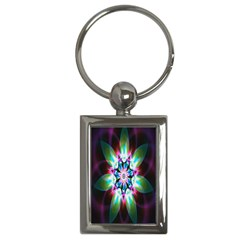Colorful Fractal Flower Star Green Purple Key Chains (rectangle)  by Mariart
