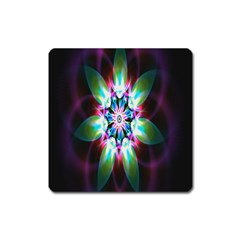 Colorful Fractal Flower Star Green Purple Square Magnet by Mariart