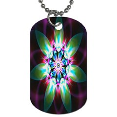 Colorful Fractal Flower Star Green Purple Dog Tag (one Side) by Mariart