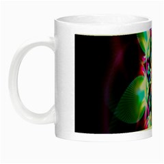 Colorful Fractal Flower Star Green Purple Night Luminous Mugs by Mariart