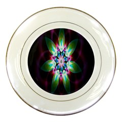 Colorful Fractal Flower Star Green Purple Porcelain Plates by Mariart