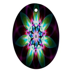 Colorful Fractal Flower Star Green Purple Oval Ornament (two Sides) by Mariart