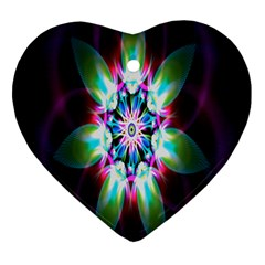 Colorful Fractal Flower Star Green Purple Heart Ornament (two Sides) by Mariart
