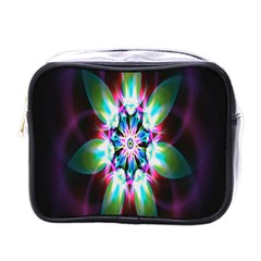 Colorful Fractal Flower Star Green Purple Mini Toiletries Bags by Mariart