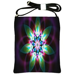 Colorful Fractal Flower Star Green Purple Shoulder Sling Bags by Mariart