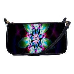 Colorful Fractal Flower Star Green Purple Shoulder Clutch Bags by Mariart