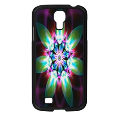Colorful Fractal Flower Star Green Purple Samsung Galaxy S4 I9500/ I9505 Case (black) by Mariart