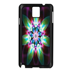 Colorful Fractal Flower Star Green Purple Samsung Galaxy Note 3 N9005 Case (black) by Mariart