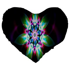Colorful Fractal Flower Star Green Purple Large 19  Premium Flano Heart Shape Cushions by Mariart