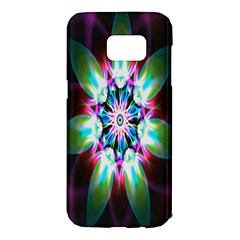Colorful Fractal Flower Star Green Purple Samsung Galaxy S7 Edge Hardshell Case by Mariart