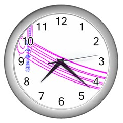Electricty Power Pole Blue Pink Wall Clocks (silver)