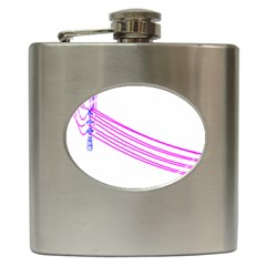 Electricty Power Pole Blue Pink Hip Flask (6 Oz) by Mariart