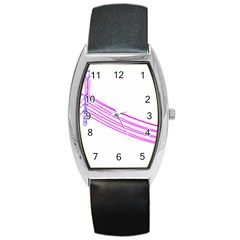 Electricty Power Pole Blue Pink Barrel Style Metal Watch by Mariart