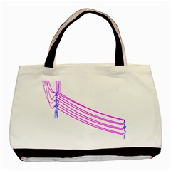 Electricty Power Pole Blue Pink Basic Tote Bag