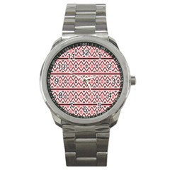 Clipart Embroidery Star Red Line Black Sport Metal Watch by Mariart