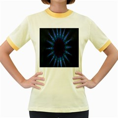 Exploding Flower Tunnel Nature Amazing Beauty Animation Blue Purple Women s Fitted Ringer T Shirts