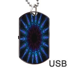 Exploding Flower Tunnel Nature Amazing Beauty Animation Blue Purple Dog Tag Usb Flash (two Sides) by Mariart