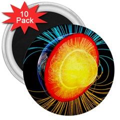 Cross Section Earth Field Lines Geomagnetic Hot 3  Magnets (10 Pack)