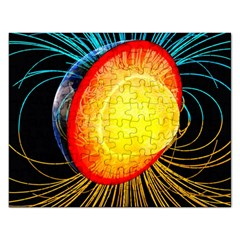 Cross Section Earth Field Lines Geomagnetic Hot Rectangular Jigsaw Puzzl by Mariart