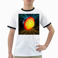 Cross Section Earth Field Lines Geomagnetic Hot Ringer T Shirts