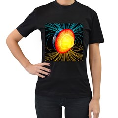 Cross Section Earth Field Lines Geomagnetic Hot Women s T-shirt (black) (two Sided)