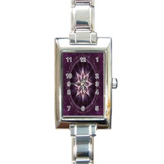Flower Twirl Star Space Purple Rectangle Italian Charm Watch by Mariart