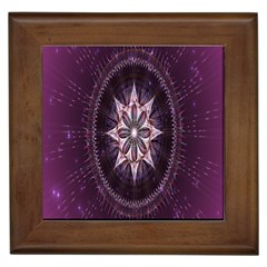 Flower Twirl Star Space Purple Framed Tiles by Mariart