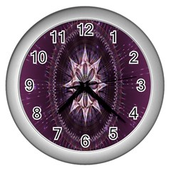 Flower Twirl Star Space Purple Wall Clocks (silver)  by Mariart