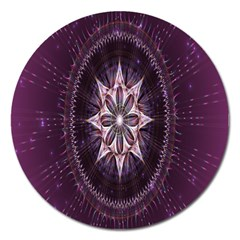 Flower Twirl Star Space Purple Magnet 5  (round) by Mariart
