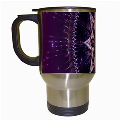 Flower Twirl Star Space Purple Travel Mugs (white) by Mariart