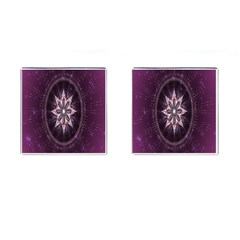Flower Twirl Star Space Purple Cufflinks (square)