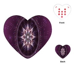 Flower Twirl Star Space Purple Playing Cards (heart)  by Mariart