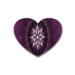 Flower Twirl Star Space Purple Heart Coaster (4 Pack)  by Mariart