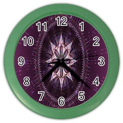 Flower Twirl Star Space Purple Color Wall Clocks by Mariart