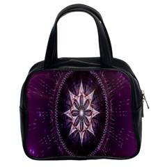 Flower Twirl Star Space Purple Classic Handbags (2 Sides) by Mariart
