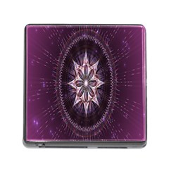 Flower Twirl Star Space Purple Memory Card Reader (square)