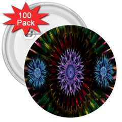Flower Stigma Colorful Rainbow Animation Gold Space 3  Buttons (100 Pack)  by Mariart