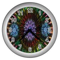 Flower Stigma Colorful Rainbow Animation Gold Space Wall Clocks (silver)  by Mariart