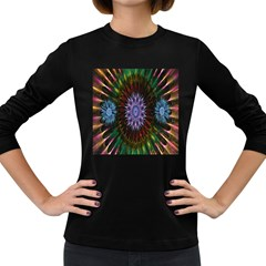 Flower Stigma Colorful Rainbow Animation Gold Space Women s Long Sleeve Dark T Shirts