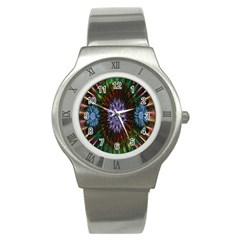 Flower Stigma Colorful Rainbow Animation Gold Space Stainless Steel Watch