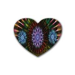 Flower Stigma Colorful Rainbow Animation Gold Space Rubber Coaster (heart)