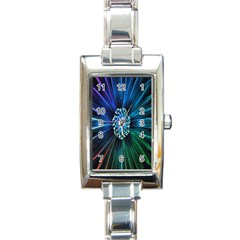 Flower Stigma Colorful Rainbow Animation Space Rectangle Italian Charm Watch by Mariart