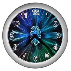 Flower Stigma Colorful Rainbow Animation Space Wall Clocks (silver)  by Mariart