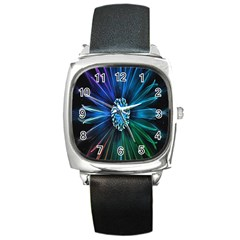 Flower Stigma Colorful Rainbow Animation Space Square Metal Watch