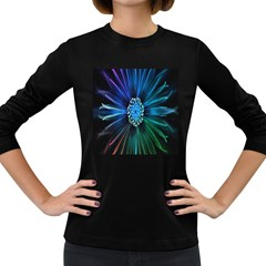 Flower Stigma Colorful Rainbow Animation Space Women s Long Sleeve Dark T Shirts